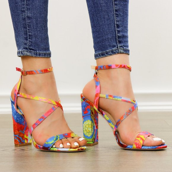 Fashion Multicolor Strappy Chunky Heel